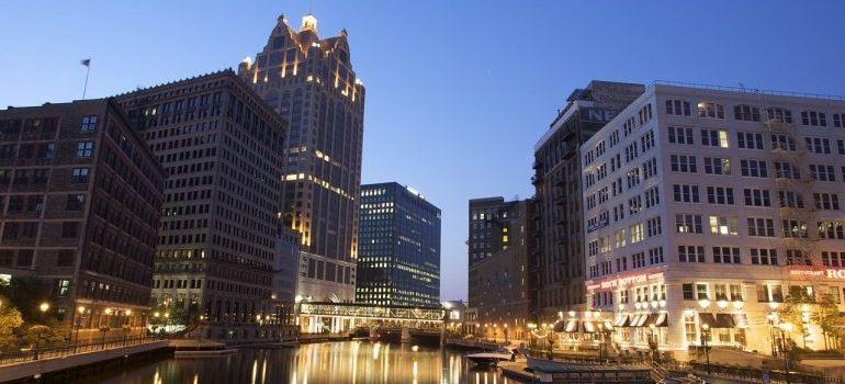 A view of Milwaukee at night.